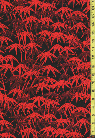 *Asian - Ruby Night - Bamboo Leaves - Y3087-80 - Black & Red