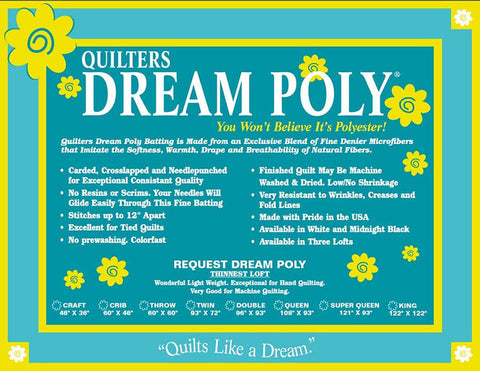 Batting - Quilters Dream POLY - Craft Size