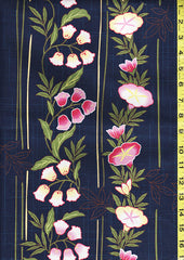 Yukata Fabric - 145 - Morning Glories & Blue Bells - Blue