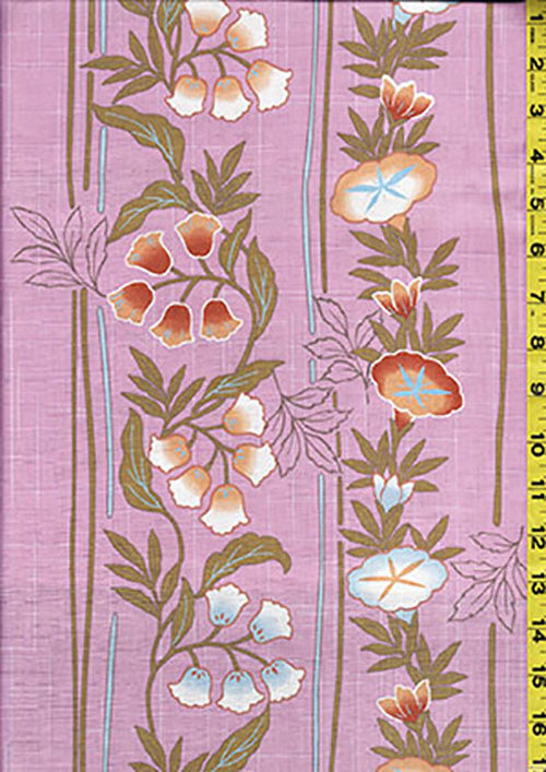 Yukata Fabric - 147 - Morning Glories & Blue Bells - Pink - Last 2 3/4 yards