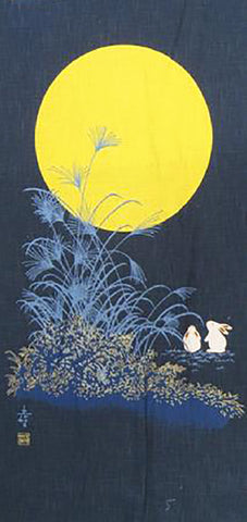 Noren Panel - Bunnies Viewing Full Moon # 103