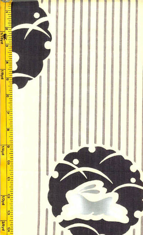 Yukata Fabric - 105 - Bunny Medallions & Stripes - Cream