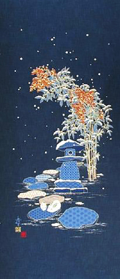 Noren Panel - Bunnies & Winter Bamboo # 118