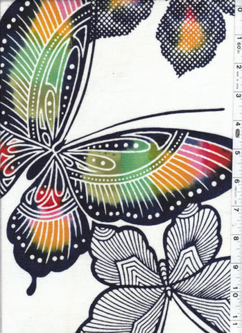 Yukata Fabric - 129 - Multi-Colored Butterflies - White