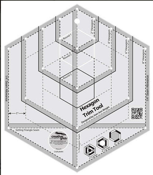 Rulers & Templates - Creative Grids - CGRJAW4 - Hexagon Trim Tool
