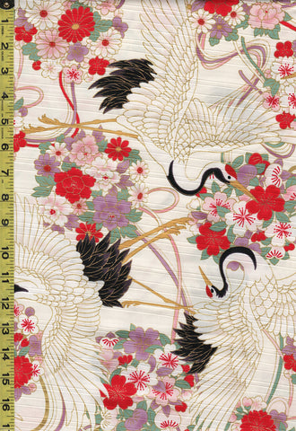Japanese - Cosmo Dobby Sateen - Large Cranes & Floral Bouquets - AP01715-1A-Cream