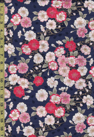 Japanese - Cosmo Dobby Sateen - Floating Cherry Blossoms & River Swirls - AP01715-2D - Navy