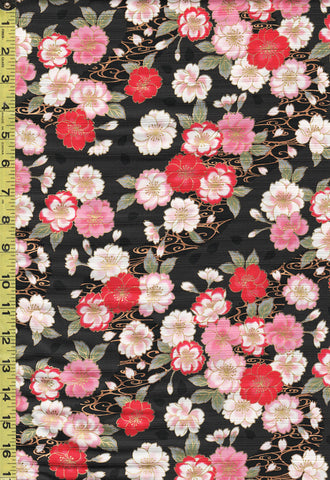 Japanese - Cosmo Dobby Sateen - Floating Cherry Blossoms & River Swirls - AP01715-2E - Black