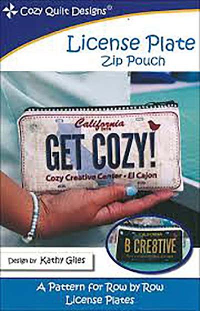 Bag Pattern - Cozy Quilt -  License Plate Zip Pouch (for Row x Row License Plates)