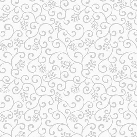 *Tonal Blender - Century Whites - Swirly Scroll & Berries - CS-9670-WW - White on White