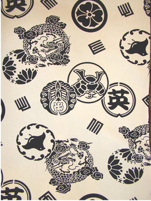 Japanese - Canvas Weight - Dragons & Crests - Cream