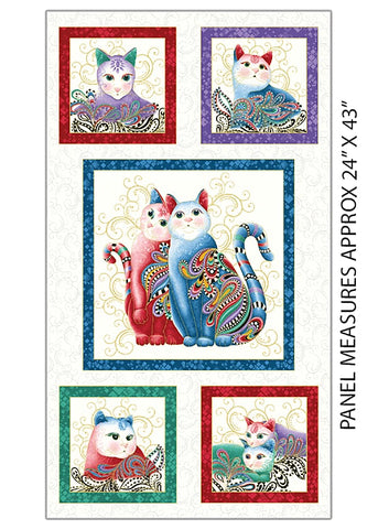 Novelty - PANEL - Cat-I-Tude 2 - Cat Blocks - White