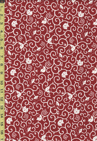 *Japanese Novelty - Cosmo Cat Faces & Scrolls - Dobby Weave - AP82306-1C- Dark Red & White