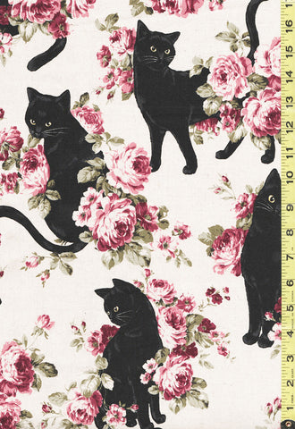 Japanese Novelty - Cosmo Cats & Roses - Oxford - KP-9063-2A - Ecru