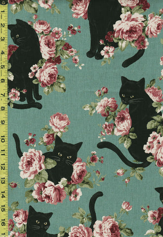 Japanese Novelty - Cosmo Cats & Roses - Oxford - KP-9063-2C - Teal