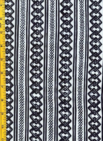 Yukata Fabric - 136 - Interlocking Chain Columns - White