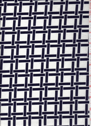 Yukata Fabric - 151 - Interlocking Bars - White