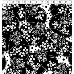 *Asian - Ruby Night - Cherry Blossom Circles & Dots - Y3088-3 - Black & White
