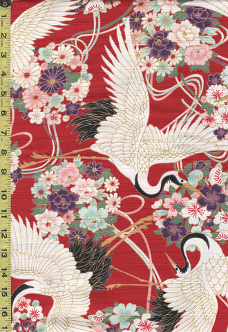 *Japanese - Cosmo Dobby Sateen - Large Cranes & Floral Bouquets - AP01715-1C - Red