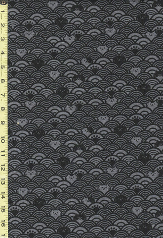 *Japanese Novelty - Cosmo Cat Faces & Waves - Dobby Weave -  AP95905-1E - Charcoal