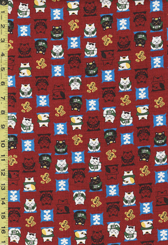 *Japanese Novelty - Cosmo Sumo Cats - Dobby Weave - AP-95905-2D - Dark Red