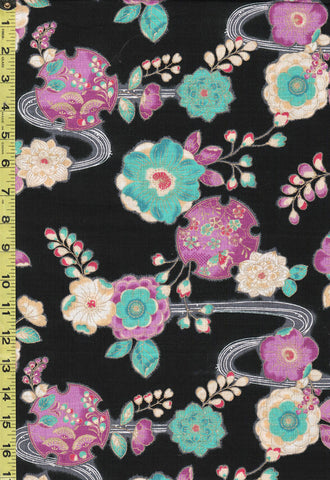 *Japanese - Cosmo Dobby Floral Medallions & River Swirls - AP92810-2A - Black