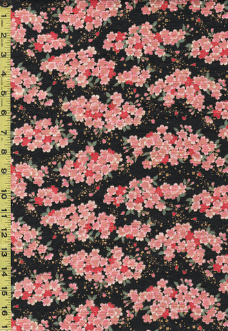 *Japanese - Cosmo Dobby Small Pink Cherry Blossom Clusters - AP01715-3E - Black