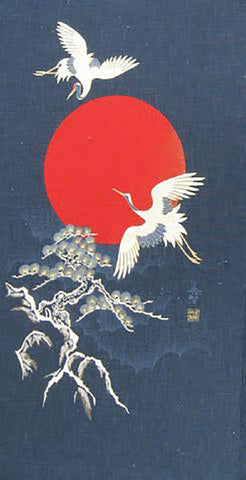 Noren Panel -  Cranes, Bonsai and Red Sun  # 98