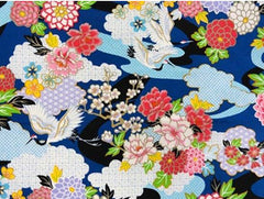 Asian - Flying Cranes and Floral Clouds - Blue