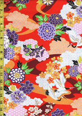 Asian - Flying Cranes and Floral Clouds - Red
