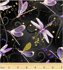Asian - Dragonfly Dance - Dancing Dragonflies - 8498M-66 - Black