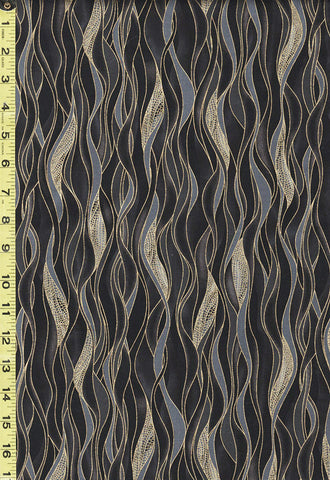 Asian - Dragonfly Dance - Dancing Waves-8503M-99 - Black & Grey