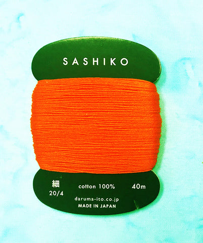 Sashiko Thread - Daruma - Thin Weight - 40m - # 212 Bright Reddish Orange (Scarlet)