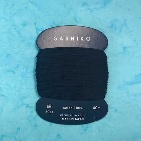 Sashiko Thread - Daruma - Thin Weight - 40m - # 216 Dark Indigo (Almost Black)