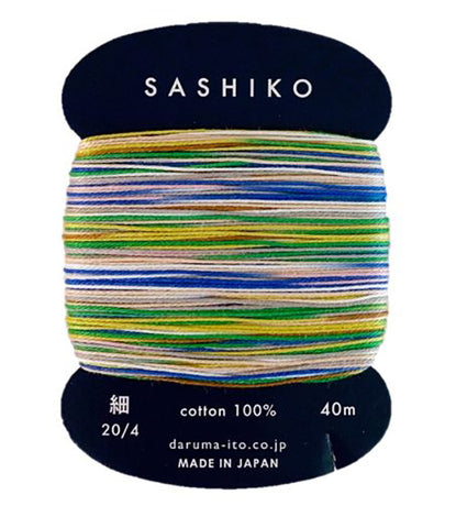*New - Sashiko Thread - Daruma - Thin Weight Variegated - 40m - # 502 Tanabata Pastels