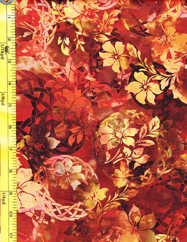 *Floral Fabric - In the Beginning - Diaphanous Celtic Garden - 3ENC-1 - Spice