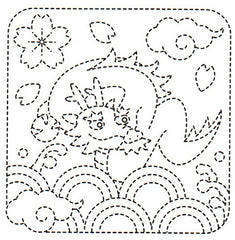 Sashiko Pre-printed Sampler - # 1009 Dragon, Clouds & Clamshell - White