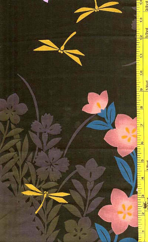 Yukata Fabric - 032 - Dragonflies & Flowers - Black