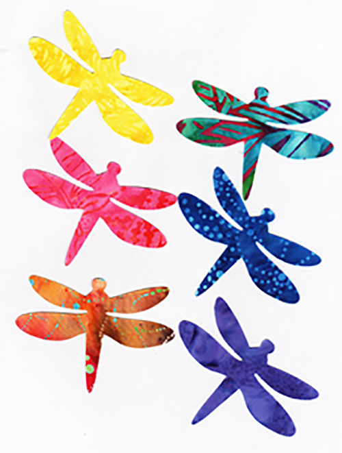 "Fabric Fun Shapes - Dragonflies - 3"" Bright Batiks"