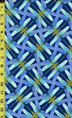 *Asian Novelty - Dragonfly Dance - Dragonfly Pinwheel - Navy, Periwinkle & Turquoise