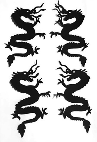 Fabric Fun Shapes - Dragons - Large - Black