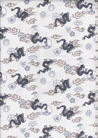 Japanese - Dragons, Crests & Ginkgo-Dobby Weave - Ivory