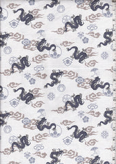 Japanese - Hokkoh Dragons, Crests & Clouds - Dobby Weave - Ivory
