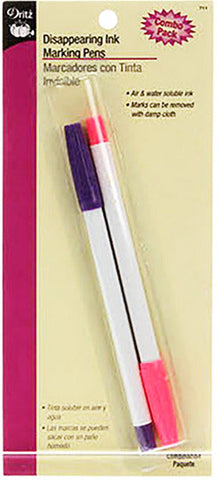 Notions - Dritz Disappearing Ink Marking Pens # 711 - Pink & Purple