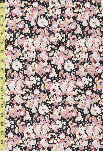 *Asian - Geiko Collection - Tiny Pink & White Cherry Blossoms - M3403 - Black