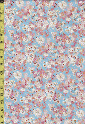 *Asian - Geiko Collection - Tiny Pink & White Cherry Blossoms - M3403 - Blue