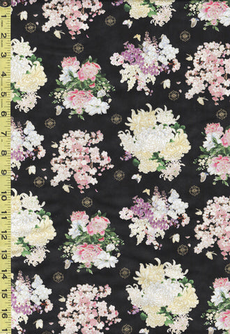 *Asian - Geiko Collection - Floating Floral Bouquets - M3407 - Black