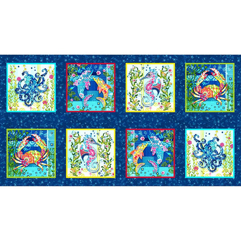 *Tropical - Blooming Ocean - Colorful Sea Life Block PANEL