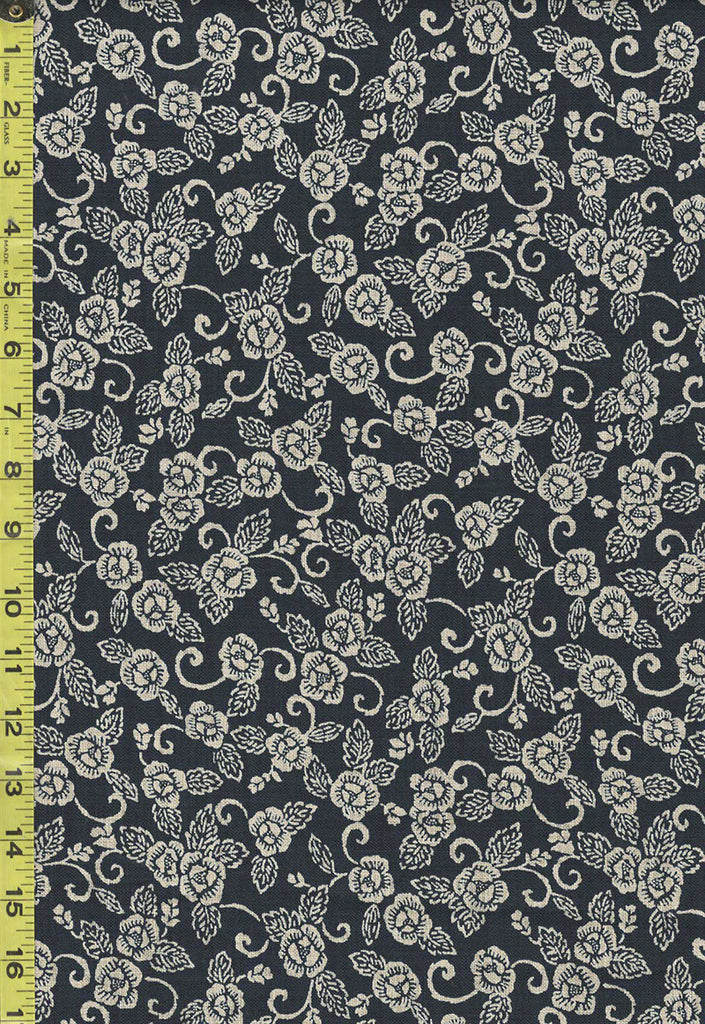 *Japanese - Sevenberry Nara Homespun - Floral with Swirly Branches - SB-88223D6-62 - Indigo
