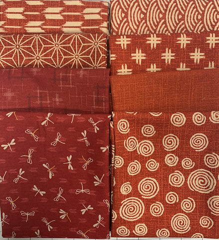 Fat Quarter Color Pack - 8 Japanese Traditional Prints - Brick Red